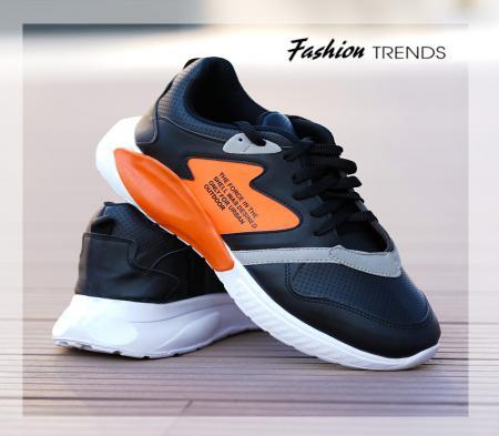 کفش مردانه shel (مشکی نارنجی)
